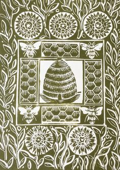 The Bee Hive Original Linocut Print, Green £25.00