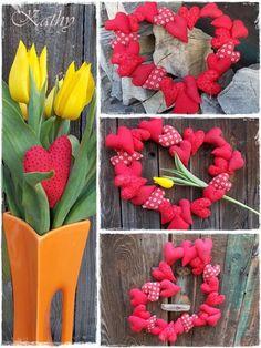 Hearts Wreath Věneček ze srdíček :: Kathy Heart Wreath, Free Tutorials, Hearts, Wreaths, Garlands, Floral Arrangements, Heart, Flower Garlands, Leis