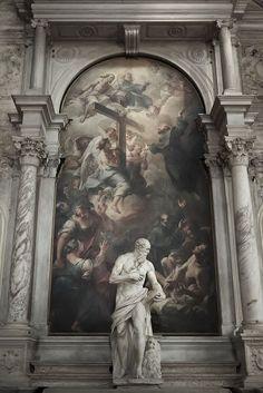 San Gerolamo and San Giuseppe da Copertino in gloria By Alessandro Vittoria, 1564 and Giuseppe Nogari. Basilica di Santa Maria Gloriosa.