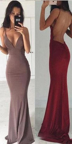 4425c1cdb01 Sexy Backless Floor Length MermaidSexy V Neck Party Prom Dresses
