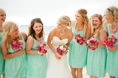 HOLLY......NOTE COLOR! ........do u consider this mint green or what your thinking is maybe more of a pastel mint green?.......tiffany blue bridesmaid dresses ©Jennefer Wilson
