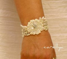 Rhinestones and Crystals Beaded Lace Cuff  Hand Embroidered Pearls Bracelet.
