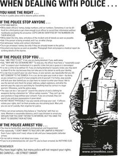 Tips for dealing with the police... I thought it may be good for people in the 'occupy' movement.