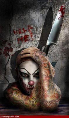 Help me...  evil creepy clown with bloody knife machete, clown with tattoos on entire length arms,  www freaking news com