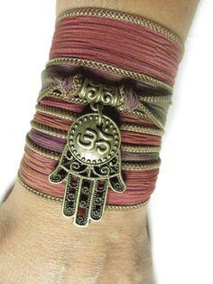 Om Yoga Bracelet Hamsa Bohemian Silk Bracelet Wrap Bracelet