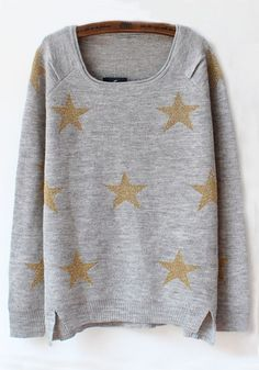 Gray Stars Round Neck Loose Cotton Sweater
