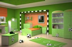 Green Color Themes Football Bedroom Decorating Ideas For Boys With Interesting Patterns On The Furniture Modern Style With Light Brown Wooden Floor: | Interior Design Suggestions
