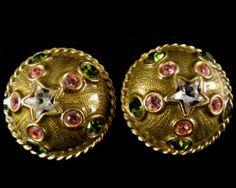 Yosca Signed Earrings Vintage Gold Tone Green Pink Rhinestones   eBay