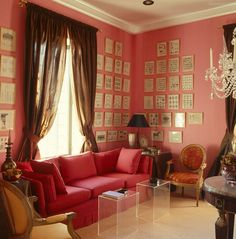corner of English designer David Hicks' iconic pink room love the clear tables in the fluff