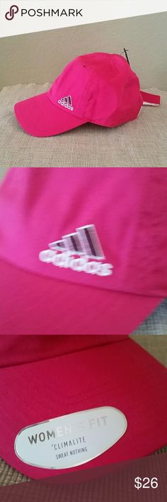 New women's  fit climalite Adidas pink hat active New Adidas hat, pink, baseball cap, athletic hat, adjustable back closure adidas Accessories Hats