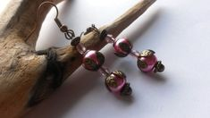 Earrings Pink and bronze leaves £3.70