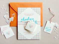 Orange Blue Letterpress Overprint Wedding Invitations Studio SloMo Best of 2013: Wedding Invitations