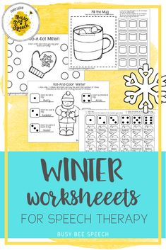 Open ended and articulation worksheets for speech therapy with a cute winter theme! Dots, cut and paste, roll a sound, and more!