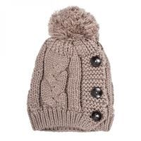 Show details for Taupe Michelle Knitted White Stitch Beanie