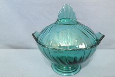 Jeannette Glass Co Petal Swirl Covered Candy Dish Ultra Marine Color 1937-38