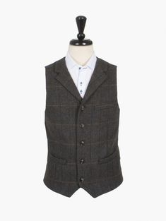 9f199f5bd4c Broadstone Bros Grey Brown Checked Tailored Waistcoat Brown And Grey