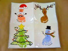 Paint your own pottery: Custom Order - Christmas themed prints for the most adorable set of twins!