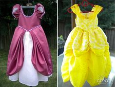 Princess Ariel and Princess Belle, custom made dresses for a trip to Disneyland for two little girls I know -- and for Halloween, too!