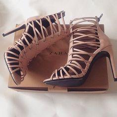 nude leather heels #ZARA