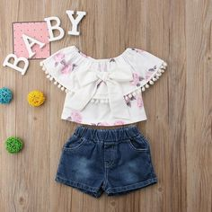Bowknot Flounce Pompom Top and Denim Shorts Set Kids Outfits Girls, Cute Outfits For Kids, Girl Outfits, Casual Outfits, Baby Girl Dress Patterns, Baby Dress, Matching Family Outfits, Baby Outfits Newborn, Outfit Sets