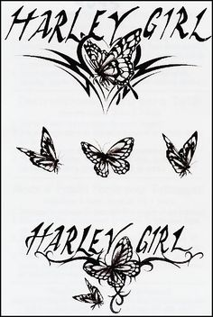 """Harley Girl with Butterflies Temporary Tattoo. This is a Temporary tattoo of tribal designs with black butterflies and the saying """"Harley Girl"""". It measures approx 5 1/2"""" long x 3 1/4"""" wide. We have other Harley Davidson Temporary Tattoos as well at tattoofun.com"""