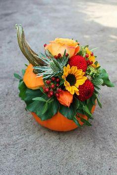 11 Do it yourself Pumpkin Flower Plant containers Great for Drop Pumpkin Flowers, pollinating pumpki Pumpkin Wedding Decorations, Pumpkin Centerpieces, Flower Centerpieces, Thanksgiving Decorations, Pumpkin Floral Arrangements, Fall Arrangements, Fall Flowers, Fresh Flowers, Pumpkin Flower