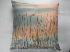 Throw pillow cover with zipper from hand painted by quiltartfabric