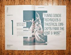 """Next Wave Festival / Alex Sophocles // I like how the text seems to """"cut into"""" the photo, while not appearing too messy. It's an idea we could use for our features and profiles, to highlight quotes from a variety of sources."""