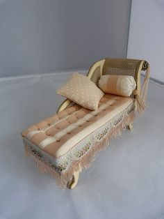 Antique Dollhouse Chaise Longue In Pink By Jo Med