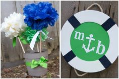 navy and green shower