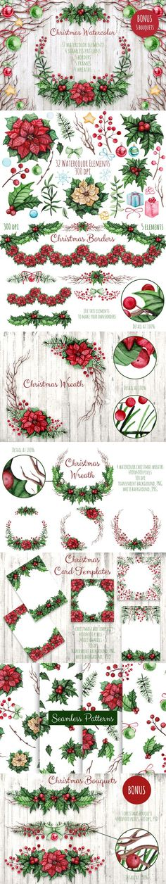 Christmas Watercolor Set. Christmas Patterns