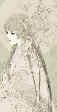 Beautiful Japanese pencil drawing.