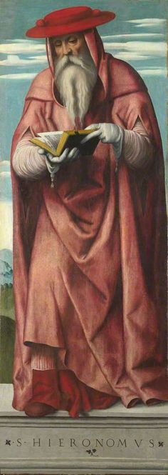 Moretto da Brescia (1498-1554): Saint Jerome, shutters from a triptych. C. 1540. Oil on wood. The National Gallery - London - UK.