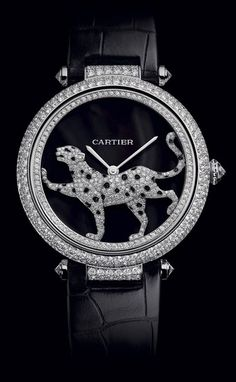 """Cartier Promenade D'Une Pathere Unveiled at SIHH. - Cartier Promenade D'Une Pathere """" Unveiled at SIHH 2012 - Cartier's glorious Masse Secrete Panther Decor watch has diamonds - lots of them - 633 in fact! Fine Watches, Cool Watches, Watches For Men, Cartier Jewelry, Jewelry Watches, Cartier Watches, Breitling Watches, High Jewelry, Jewelry Accessories"""