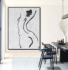 Hand painted Vertical Minimal Art nude art canvas painting from CZArtDesign.com, @CelineZiangArt. Black and white nude painting for modern home.