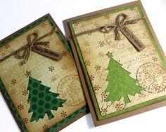 Set of 2 / Christmas Card / Merry Christmas Card / Christmas Tree Card / Seasonal Card / Merry Christmas Card / Christmas Card, Rustic Card