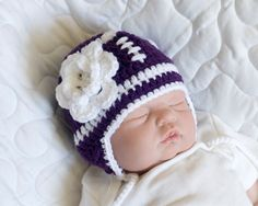 FOOTBALL BABY GIRL Grandmabilt Crochet Purple Football Hat, Knit Baby football Hat, Football Hat Flower, Football Knit Hat, Football Beanie by Grandmabilt on Etsy