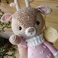 Crochet Dolls Free Patterns, Christmas Crochet Patterns, Amigurumi Patterns, Teddy Bear Patterns Free, Crochet Teddy Bear Pattern, Knitting Patterns, Knitting Stitches, Knitting Needles, Crochet Deer