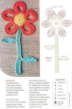 Flower Applique Motif to Crochet