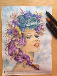 prima princess eith watercolor pencils