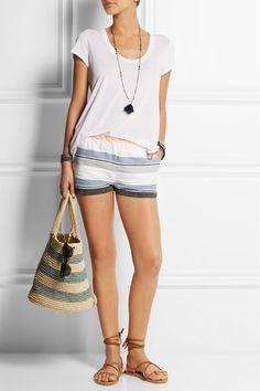 LemLemSaali striped cotton-blend gauze shorts