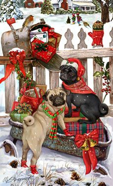 """New for 2012! Pug Christmas Holiday Cards are 8 1/2"""" x 5 1/2"""" and come in packages of 12 cards. One design per package. All designs include envelopes, your personal message, and choice of greeting. Select the inside greeting of your choice from the menu below.Add your custom personal message to the Comments box during checkout."""