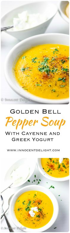 Golden Bell Pepper Soup with Cayenne and Greek Yogurt. Golden Bell Pepper Soup with Cayenne and Greek Yogurt - the best health soup ever. Bell Pepper Soup, Stuffed Pepper Soup, Stuffed Peppers, Best Soup Recipes, Healthy Recipes, Healthy Soups, Chili Recipes, Amazing Recipes, Favorite Recipes