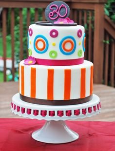 polka dots and stripped birthday cake