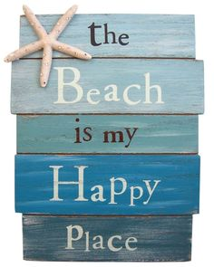The Beach Is My Happy Place. Plank Board Sign with Starfish and Rhinestone Accents. Approximately X - The Beach Is My Happy Place - Plank Board Sign with Starfish and Rhinestone Accents - Approximately X Ocean Home Decor, Beach House Decor, Coastal Decor, Coastal Bedding, Seaside Decor, Beach Condo, Beachy Signs, Beach Signs Wooden, Wall Ornaments