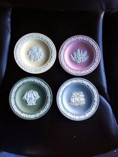 Vintage Wedgewood Jasperware blue yellow green pink trinket tea plates