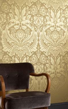 Desire Gold Damask Wallpaper - Golden Wall Coverings by Graham & Brown Gold Damask Wallpaper, Black Wallpaper, Mustard Wallpaper, Tapete Gold, Brick Effect Wallpaper, Golden Wall, Graham Brown, Designer Wallpaper, Wallpaper Designs