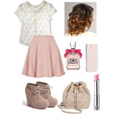 A fashion look from October 2013 featuring lace shirt, flared skirts and heeled ankle boots. Browse and shop related looks. Violetta Outfits, Violetta Disney, Girly Outfits, Chic Outfits, Fashion Outfits, Teen Girl Fashion, Fashion Lighting, Polyvore Outfits, Juicy Couture