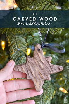 This rustic looking power carved wood ornament looks great on any tree, especially if you're going for the modern farmhouse look or need to add more neutrals to your holiday color scheme - DIY Craft Ideas Wood Ornaments, Diy Christmas Ornaments, Christmas Ideas, Handmade Christmas Gifts, Carved Wood, Modern Farmhouse, Carving, Diy Crafts, Holiday Decor