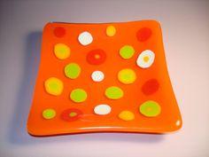 Orange Polka Dot Glass Dish